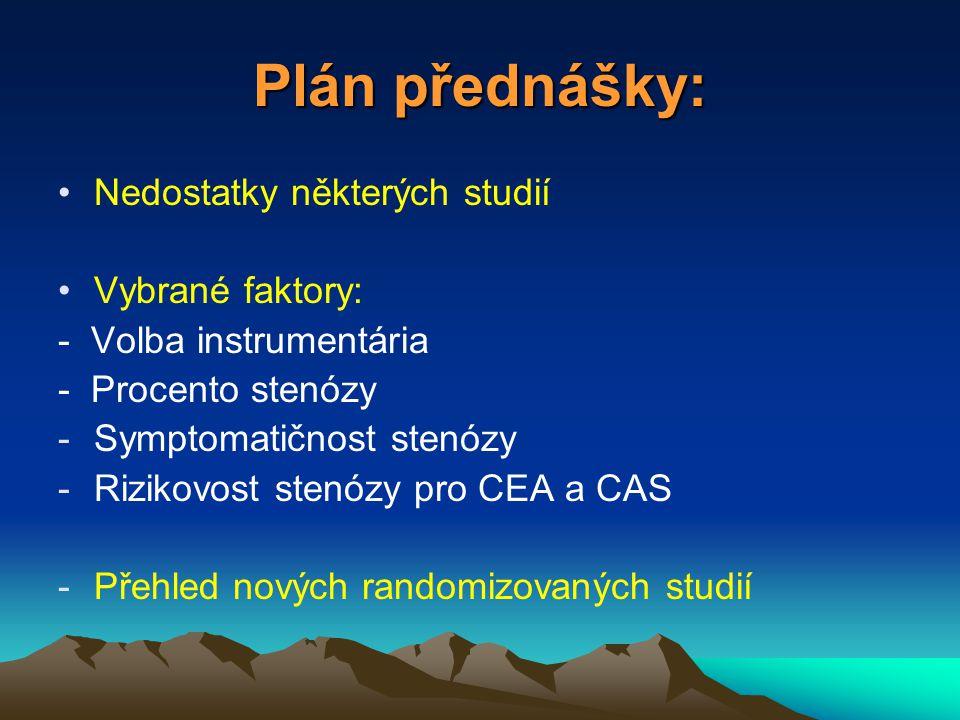 Plán přednášky: Nedostatky některých studií Vybrané faktory: - Volba instrumentária - Procento stenózy -Symptomatičnost stenózy -Rizikovost stenózy pro CEA a CAS -Přehled nových randomizovaných studií
