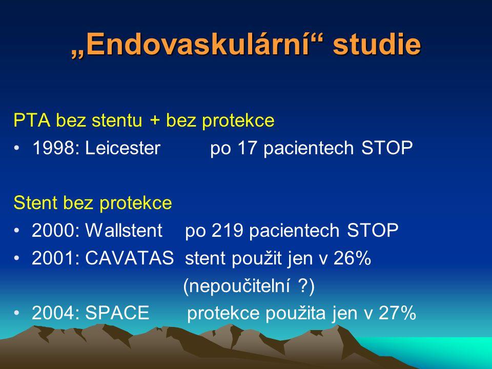 """""""Endovaskulární studie PTA bez stentu + bez protekce 1998: Leicesterpo 17 pacientech STOP Stent bez protekce 2000: Wallstent po 219 pacientech STOP 2001: CAVATAS stent použit jen v 26% (nepoučitelní ) 2004: SPACE protekce použita jen v 27%"""