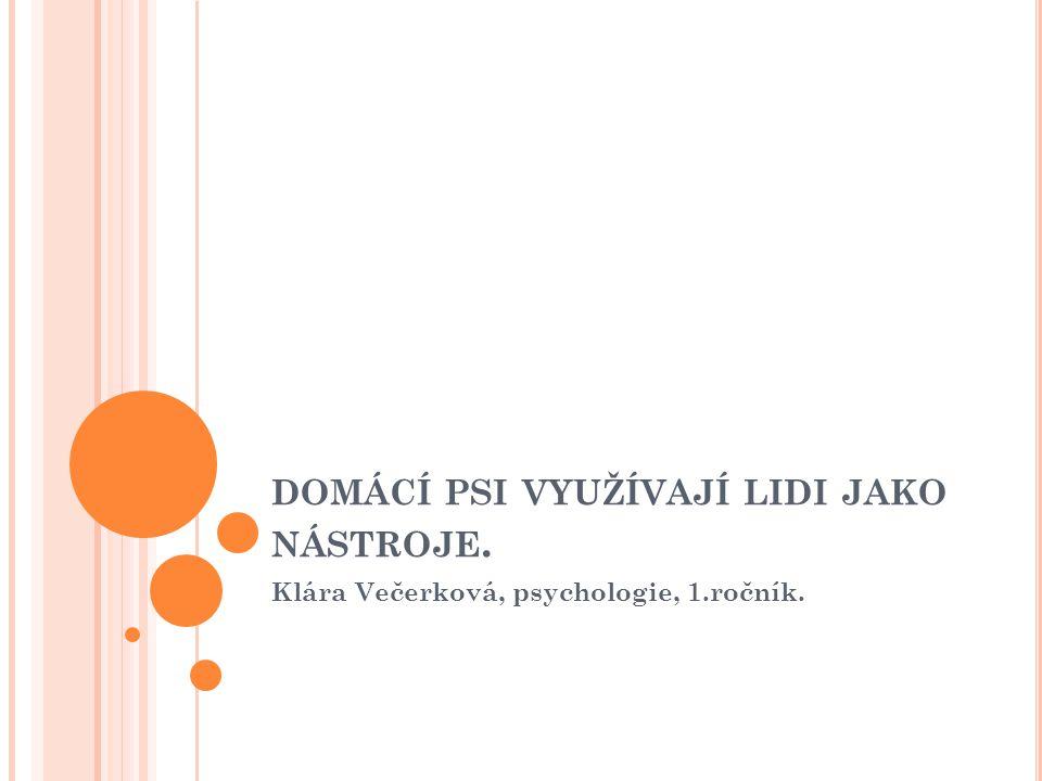 DOMÁCÍ PSI VYUŽÍVAJÍ LIDI JAKO NÁSTROJE. Klára Večerková, psychologie, 1.ročník.