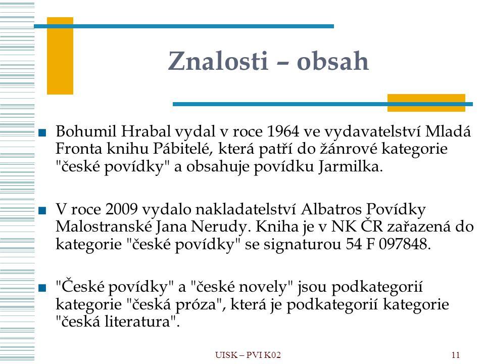 UISK – PVI K0211 Znalosti – obsah ■Bohumil Hrabal vydal v roce 1964 ve vydavatelství Mladá Fronta knihu Pábitelé, která patří do žánrové kategorie