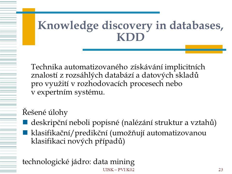 23 Knowledge discovery in databases, KDD Technika automatizovaného získávání implicitních znalostí z rozsáhlých databází a datových skladů pro využití