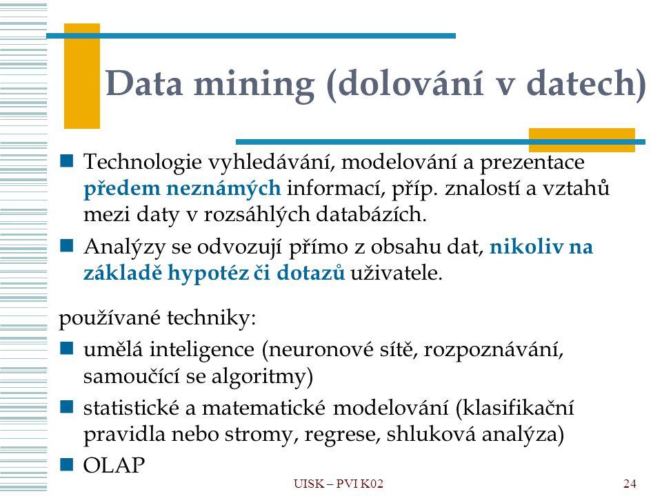 24 Data mining (dolování v datech) Technologie vyhledávání, modelování a prezentace předem neznámých informací, příp. znalostí a vztahů mezi daty v ro
