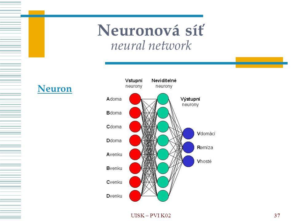 37 Neuronová síť neural network Neuron UISK – PVI K0237