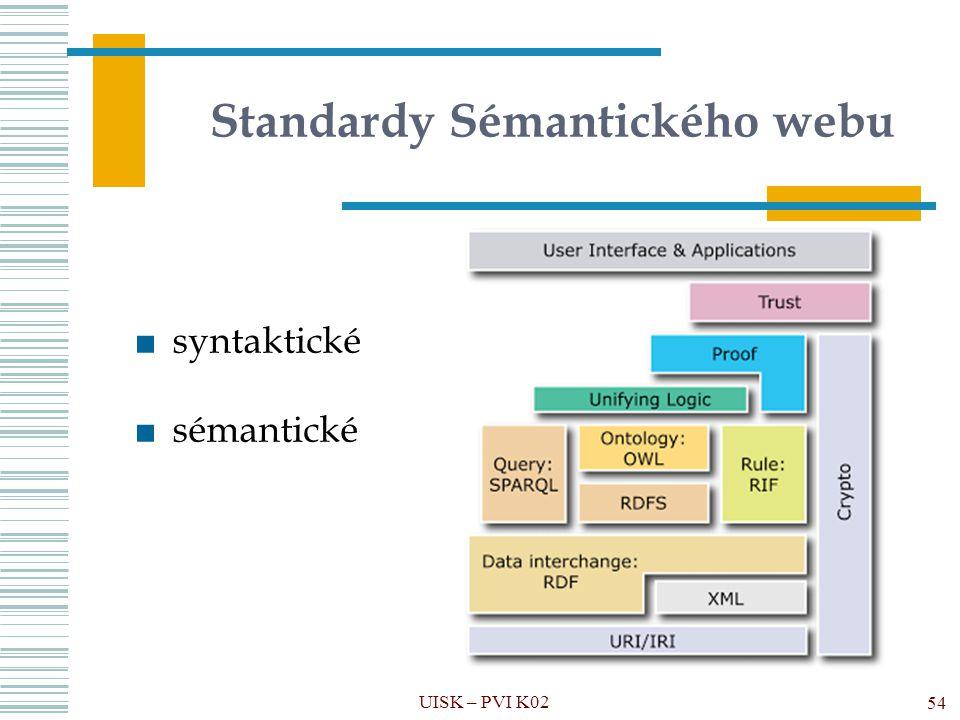 Standardy Sémantického webu UISK – PVI K02 54 ■syntaktické ■sémantické