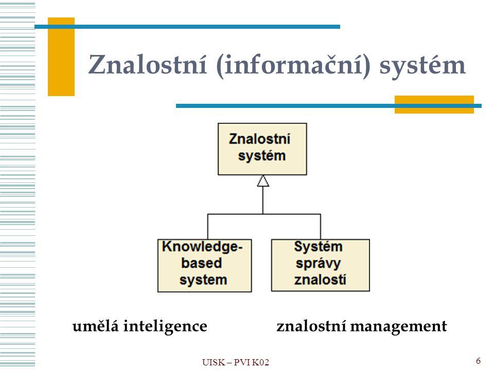 UISK – PVI K027 Znalost Schopnost člověka nebo jakéhokoli jiného inteligentního systému uchovávat, komunikovat a zpracovávat informace do systematicky a hierarchicky uspořádaných znalostních struktur.