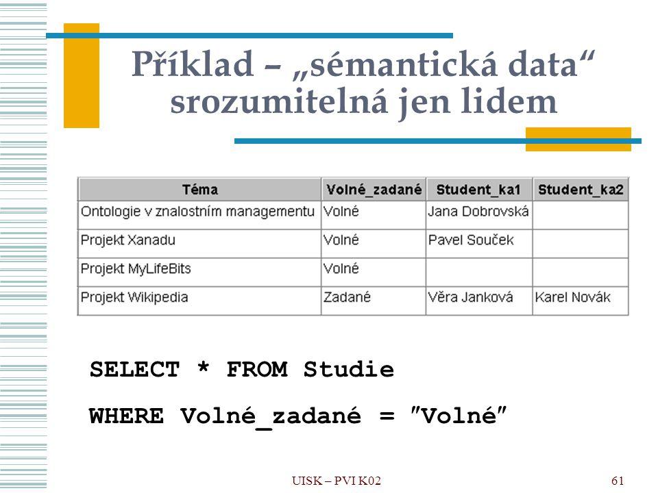 """61 Příklad – """"sémantická data"""" srozumitelná jen lidem SELECT * FROM Studie WHERE Volné_zadané =  Volné  UISK – PVI K02"""