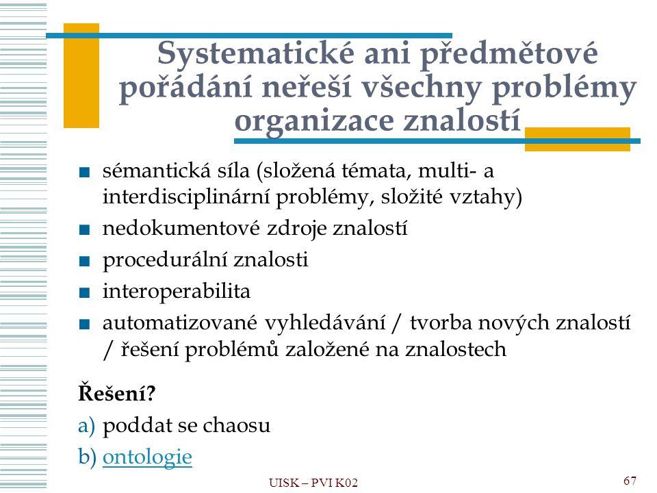 Systematické ani předmětové pořádání neřeší všechny problémy organizace znalostí ■sémantická síla (složená témata, multi- a interdisciplinární problém
