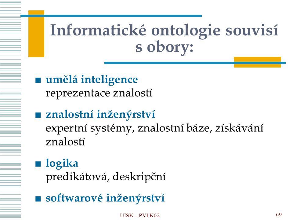 Informatické ontologie souvisí s obory: ■ umělá inteligence reprezentace znalostí ■ znalostní inženýrství expertní systémy, znalostní báze, získávání