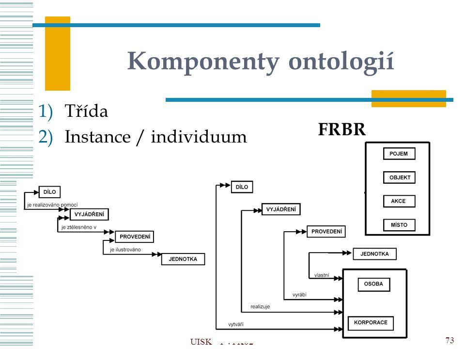 Komponenty ontologií 1)Třída 2)Instance / individuum UISK – PVI K02 73 FRBR