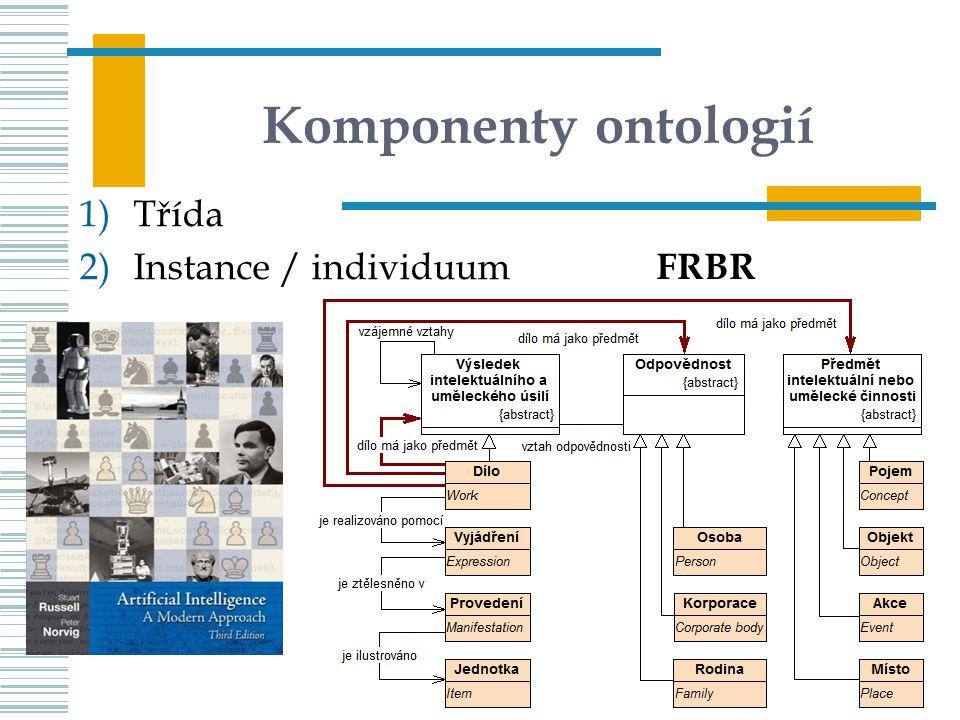 Komponenty ontologií 1)Třída 2)Instance / individuum UISK – PVI K02 74 FRBR