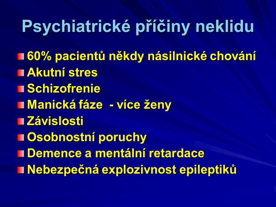 Psychiatrické příčiny neklidu 60% pacientů někdy násilnické chování Akutní stres Schizofrenie Manická fáze - více ženy Závislosti Osobnostní poruchy Demence a mentální retardace Nebezpečná explozivnost epileptiků