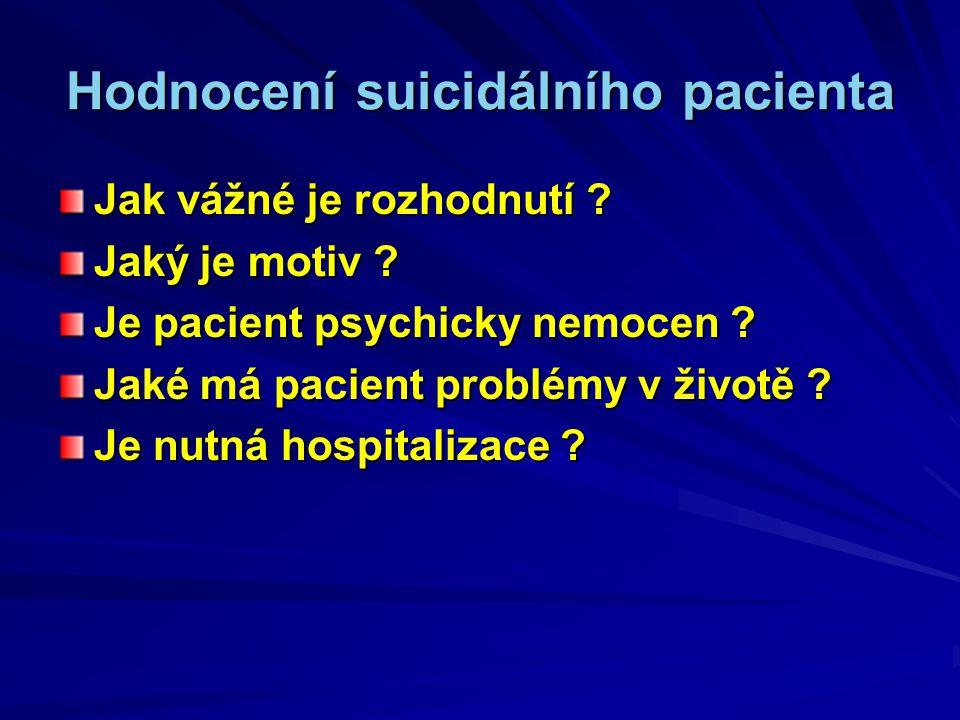 Hodnocení suicidálního pacienta Jak vážné je rozhodnutí .
