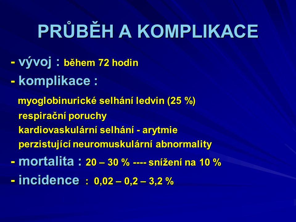 PRŮBĚH A KOMPLIKACE - vývoj : během 72 hodin - komplikace : myoglobinurické selhání ledvin (25 %) myoglobinurické selhání ledvin (25 %) respirační poruchy respirační poruchy kardiovaskulární selhání - arytmie kardiovaskulární selhání - arytmie perzistující neuromuskulární abnormality perzistující neuromuskulární abnormality - mortalita : 20 – 30 % ---- snížení na 10 % - incidence : 0,02 – 0,2 – 3,2 %