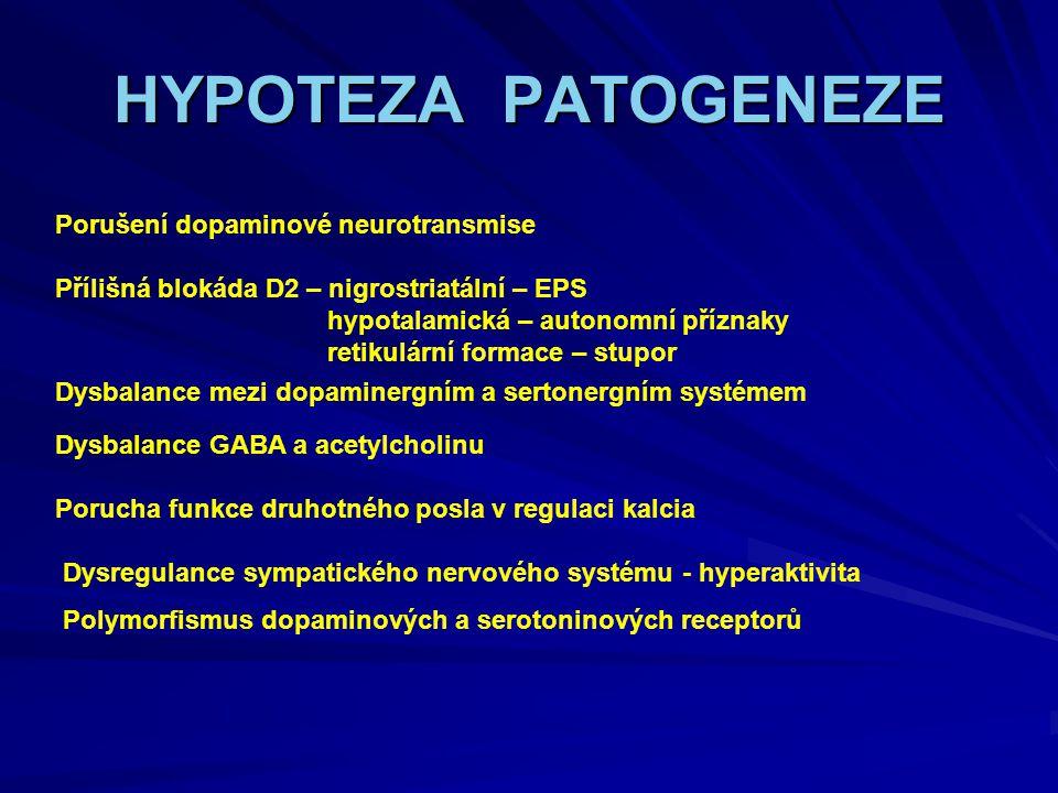 HYPOTEZA PATOGENEZE Porušení dopaminové neurotransmise Přílišná blokáda D2 – nigrostriatální – EPS hypotalamická – autonomní příznaky retikulární formace – stupor Dysbalance mezi dopaminergním a sertonergním systémem Dysbalance GABA a acetylcholinu Porucha funkce druhotného posla v regulaci kalcia Dysregulance sympatického nervového systému - hyperaktivita Polymorfismus dopaminových a serotoninových receptorů