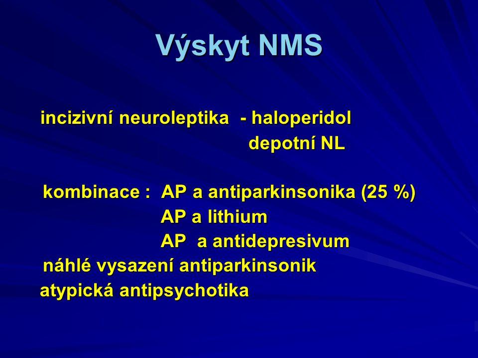 Výskyt NMS incizivní neuroleptika - haloperidol incizivní neuroleptika - haloperidol depotní NL depotní NL kombinace : AP a antiparkinsonika (25 %) kombinace : AP a antiparkinsonika (25 %) AP a lithium AP a lithium AP a antidepresivum AP a antidepresivum náhlé vysazení antiparkinsonik náhlé vysazení antiparkinsonik atypická antipsychotika atypická antipsychotika