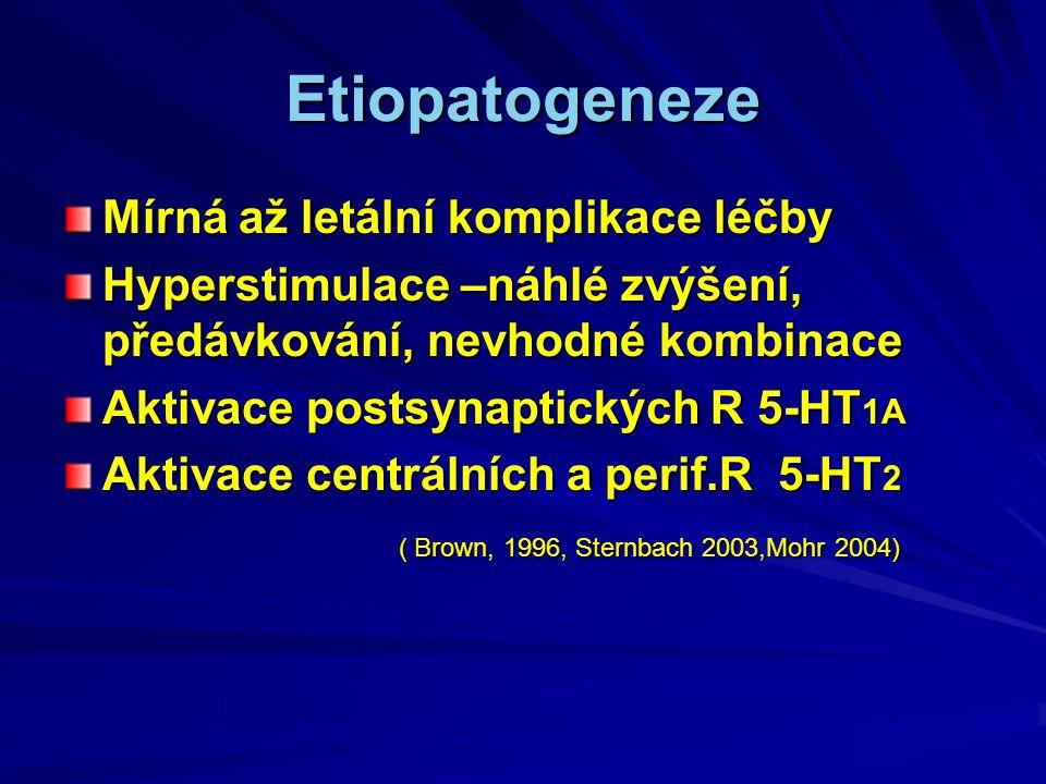 Etiopatogeneze Mírná až letální komplikace léčby Hyperstimulace –náhlé zvýšení, předávkování, nevhodné kombinace Aktivace postsynaptických R 5-HT 1A Aktivace centrálních a perif.R 5-HT 2 ( Brown, 1996, Sternbach 2003,Mohr 2004) ( Brown, 1996, Sternbach 2003,Mohr 2004)