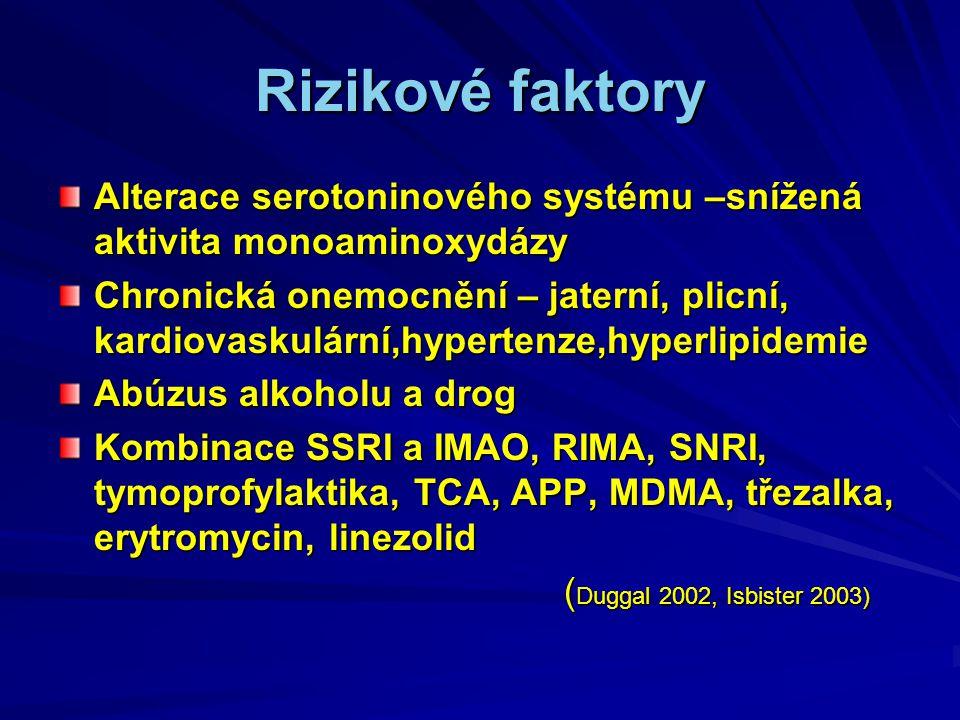 Rizikové faktory Alterace serotoninového systému –snížená aktivita monoaminoxydázy Chronická onemocnění – jaterní, plicní, kardiovaskulární,hypertenze,hyperlipidemie Abúzus alkoholu a drog Kombinace SSRI a IMAO, RIMA, SNRI, tymoprofylaktika, TCA, APP, MDMA, třezalka, erytromycin, linezolid ( Duggal 2002, Isbister 2003) ( Duggal 2002, Isbister 2003)