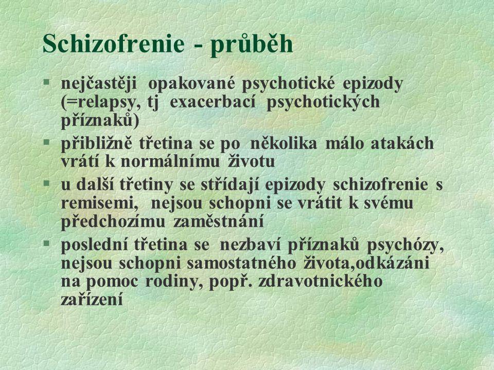 Schizofrenie - průběh §nejčastěji opakované psychotické epizody (=relapsy, tj exacerbací psychotických příznaků) §přibližně třetina se po několika mál