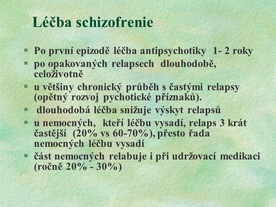 Léčba schizofrenie §Po první epizodě léčba antipsychotiky 1- 2 roky §po opakovaných relapsech dlouhodobě, celoživotně §u většiny chronický průběh s ča