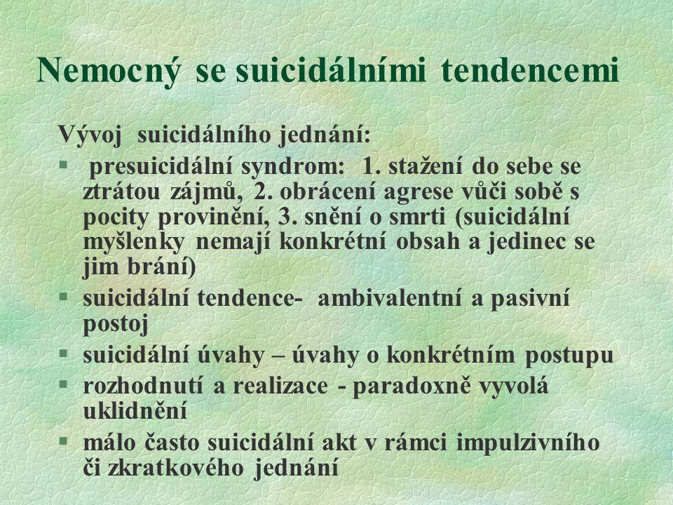 Nemocný se suicidálními tendencemi Vývoj suicidálního jednání: § presuicidální syndrom: 1. stažení do sebe se ztrátou zájmů, 2. obrácení agrese vůči s