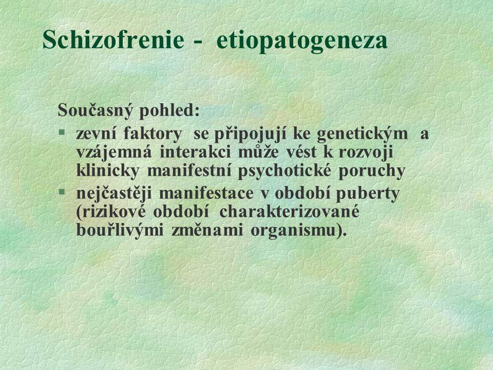 Schizofrenie - etiopatogeneza Současný pohled: §zevní faktory se připojují ke genetickým a vzájemná interakci může vést k rozvoji klinicky manifestní