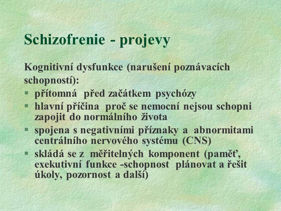 Schizofrenie - projevy Kognitivní dysfunkce (narušení poznávacích schopností): §přítomná před začátkem psychózy §hlavní příčina proč se nemocní nejsou