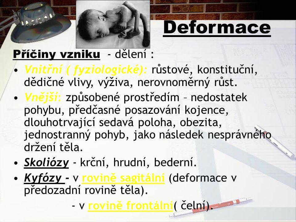 Deformace Příčiny vzniku - dělení : Vnitřní ( fyziologické): růstové, konstituční, dědičné vlivy, výživa, nerovnoměrný růst. Vnější: způsobené prostře