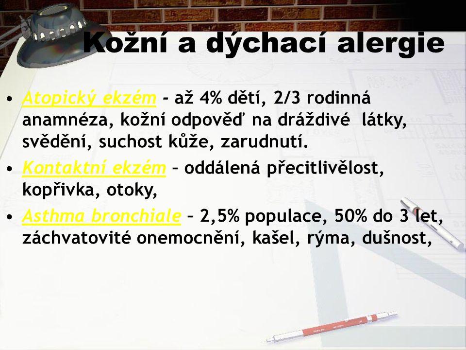 Kožní a dýchací alergie Atopický ekzém - až 4% dětí, 2/3 rodinná anamnéza, kožní odpověď na dráždivé látky, svědění, suchost kůže, zarudnutí. Kontaktn