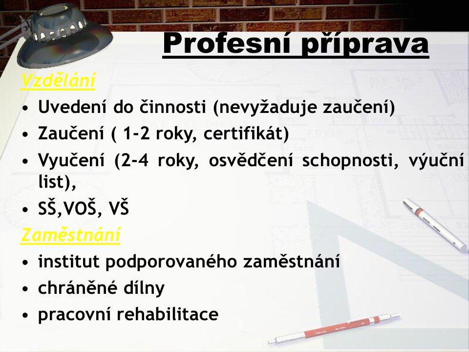 Profesní příprava Vzdělání Uvedení do činnosti (nevyžaduje zaučení) Zaučení ( 1-2 roky, certifikát) Vyučení (2-4 roky, osvědčení schopnosti, výuční list), SŠ,VOŠ, VŠ Zaměstnání institut podporovaného zaměstnání chráněné dílny pracovní rehabilitace