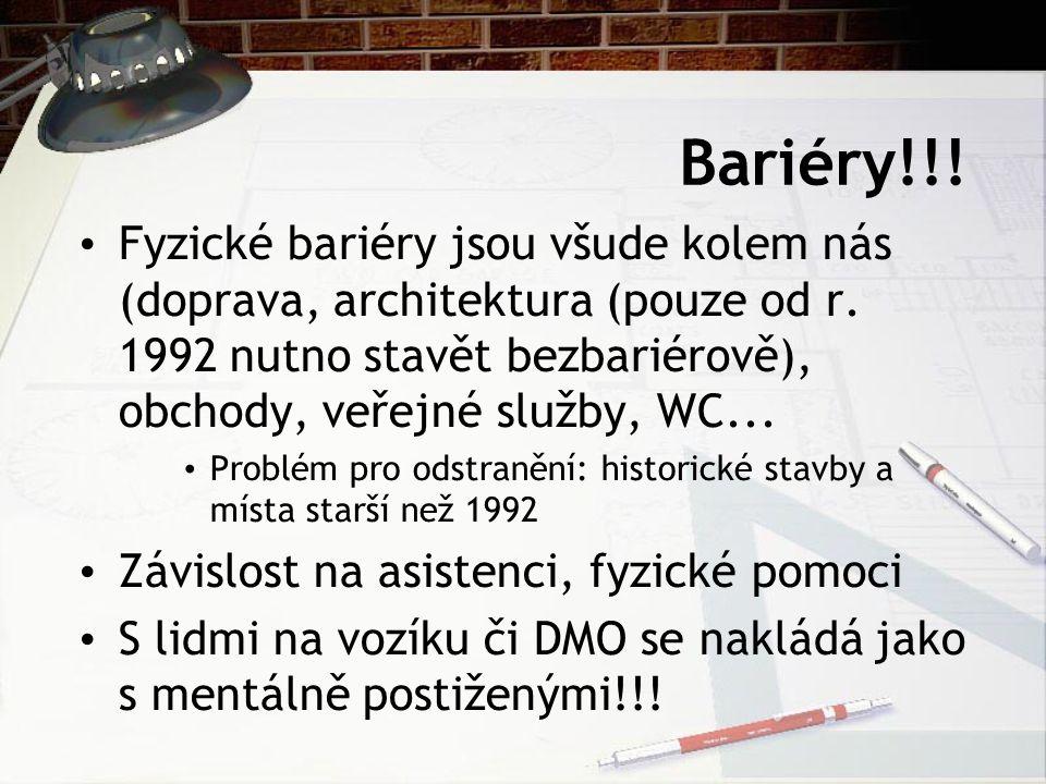 Bariéry!!! Fyzické bariéry jsou všude kolem nás (doprava, architektura (pouze od r. 1992 nutno stavět bezbariérově), obchody, veřejné služby, WC... Pr