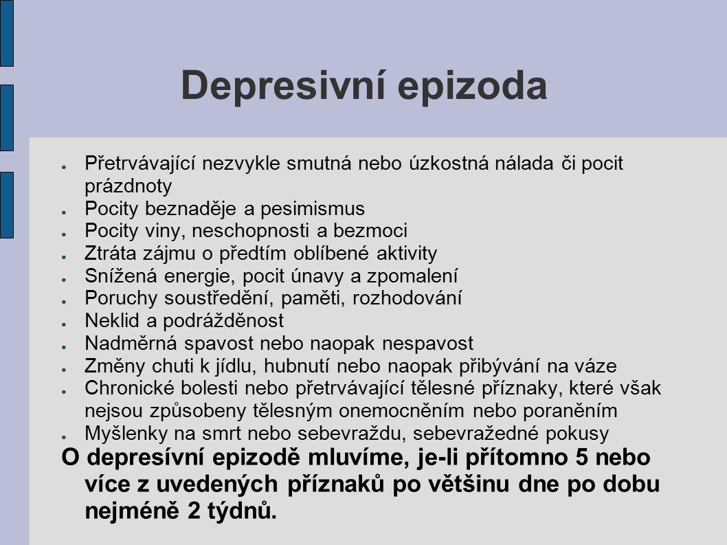 Depresivní epizoda ● Přetrvávající nezvykle smutná nebo úzkostná nálada či pocit prázdnoty ● Pocity beznaděje a pesimismus ● Pocity viny, neschopnosti