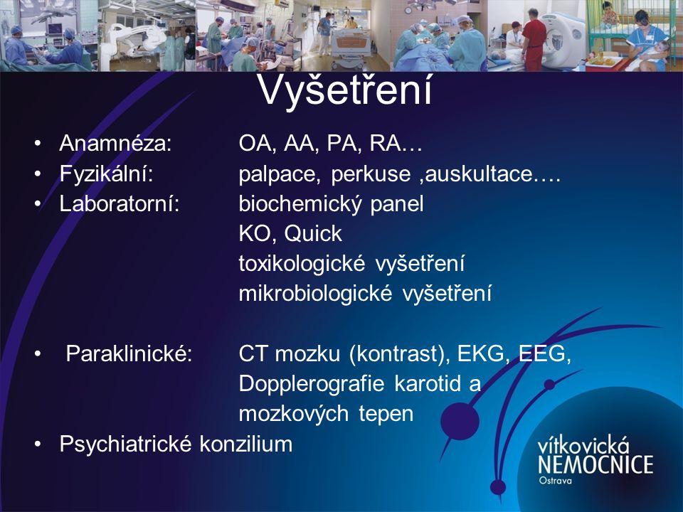 Léčba Odstranění vyvolávající příčiny –kompenzace VF, metabolických poruch, infektů… Obecná podpůrná opatření - nekonfliktní přístup, komunikace, reorientace Preventivní opatření – úraz, pád – zvýšený dohled Komplexní ošetřovatelská péče Fyzické omezení – prohlubuje delirium Sedace:Tiapridal, Buronil, Risperdal, Haloperidol, Heminevrin, Tisercin, Diazepam…