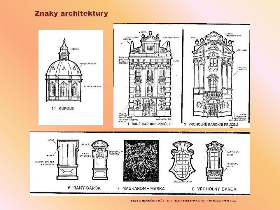 Znaky architektury Tabule historických slohů I – dr. J.Herout, akad.archit.A.Kryl, Komenium, Praha 1982