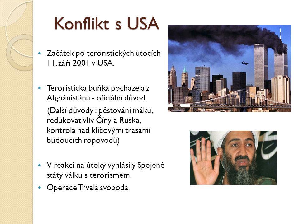 Konflikt s USA Začátek po teroristických útocích 11. září 2001 v USA. Teroristická buňka pocházela z Afghánistánu - oficiální důvod. (Další důvody : p