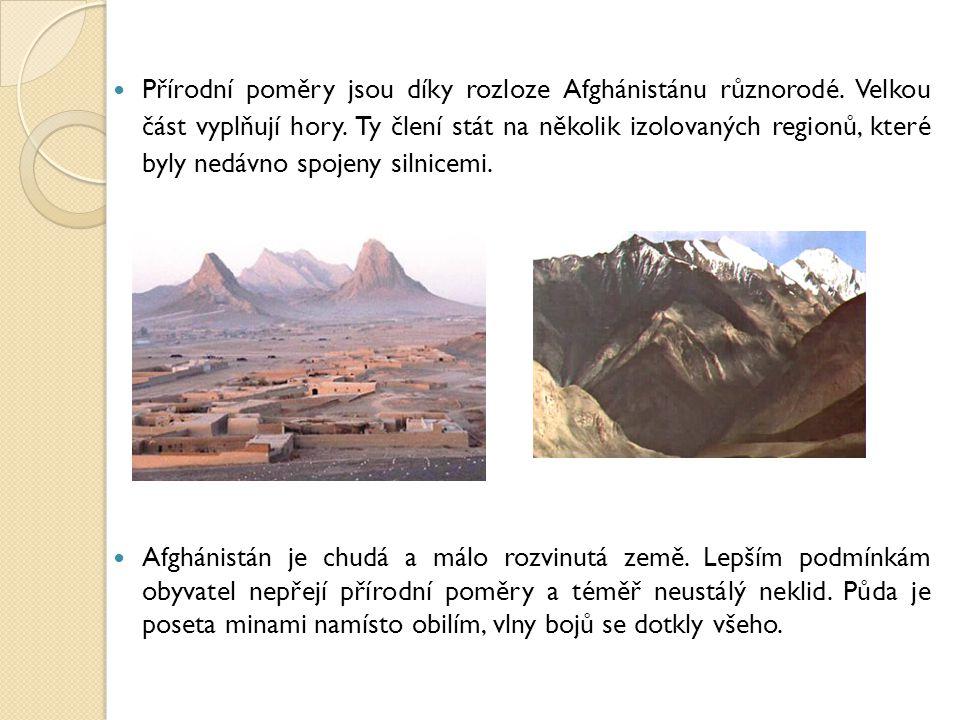 Přírodní poměry jsou díky rozloze Afghánistánu různorodé. Velkou část vyplňují hory. Ty člení stát na několik izolovaných regionů, které byly nedávno