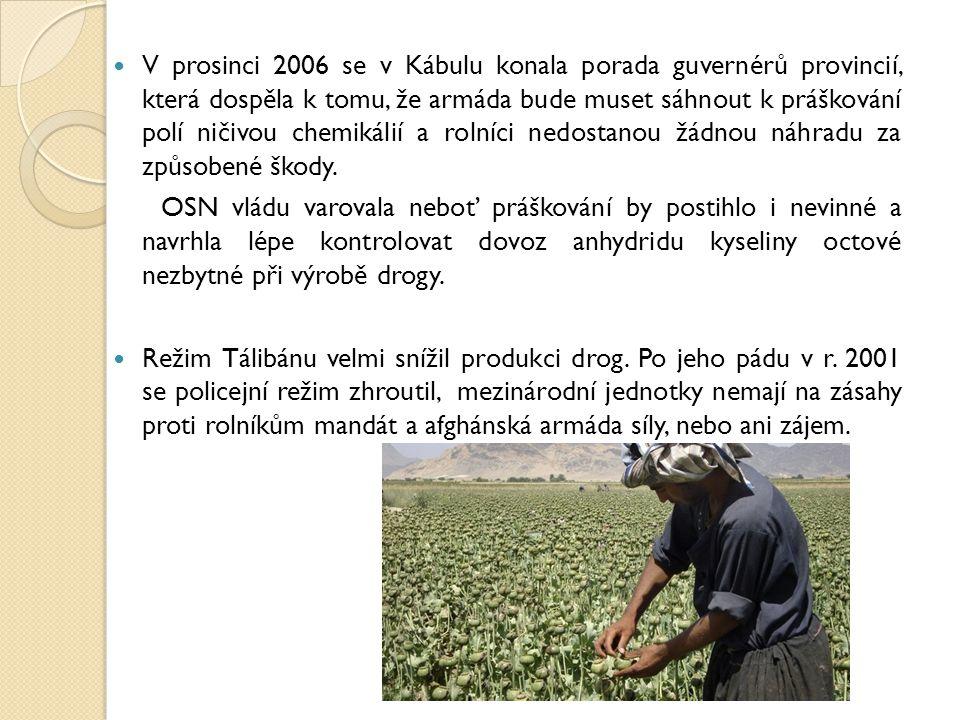 V prosinci 2006 se v Kábulu konala porada guvernérů provincií, která dospěla k tomu, že armáda bude muset sáhnout k práškování polí ničivou chemikálií