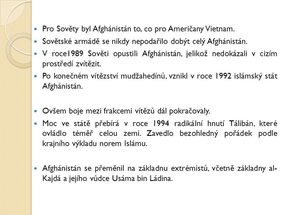 Pro Sověty byl Afghánistán to, co pro Američany Vietnam. Sovětské armádě se nikdy nepodařilo dobýt celý Afghánistán. V roce1989 Sověti opustili Afghán
