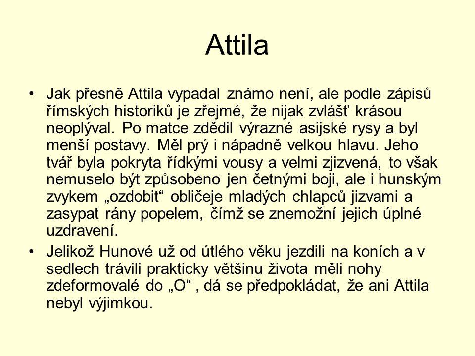 Attila Jak přesně Attila vypadal známo není, ale podle zápisů římských historiků je zřejmé, že nijak zvlášť krásou neoplýval. Po matce zdědil výrazné