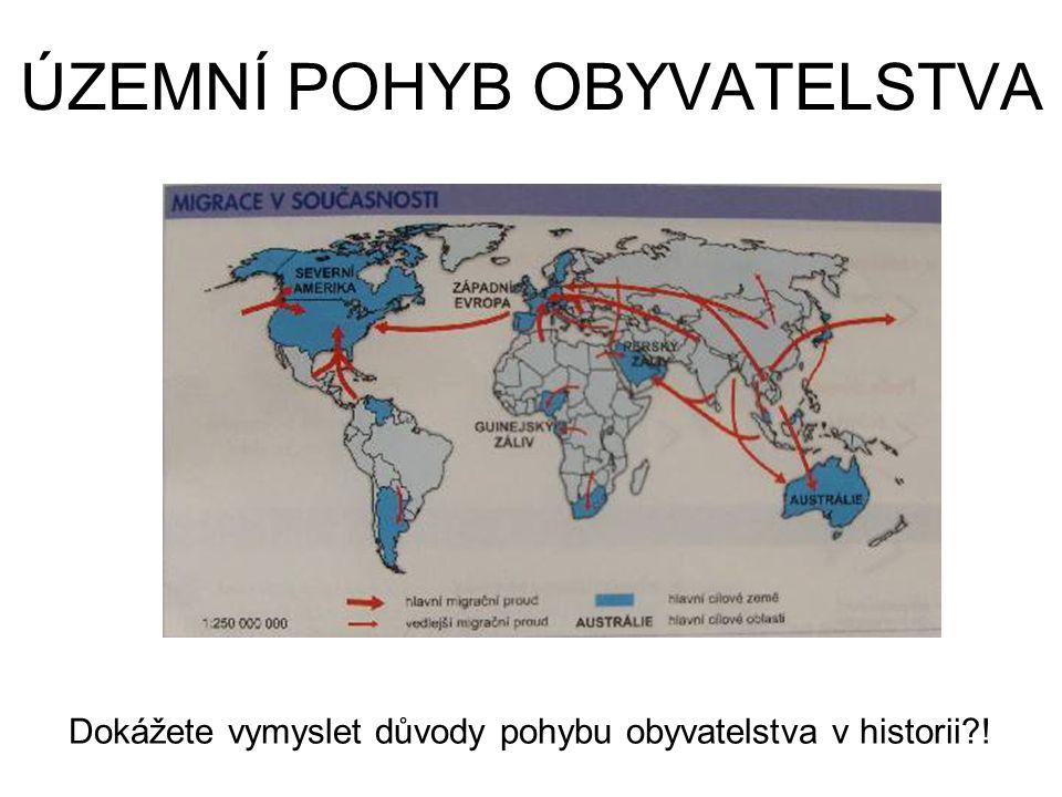 ÚZEMNÍ POHYB OBYVATELSTVA Dokážete vymyslet důvody pohybu obyvatelstva v historii?!