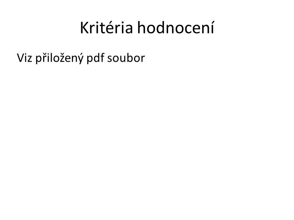 Kritéria hodnocení Viz přiložený pdf soubor