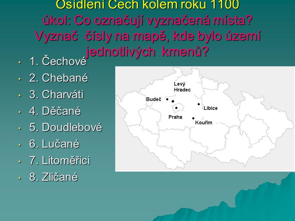 Osídlení Čech kolem roku 1100 úkol: Co označují vyznačená místa? Vyznač čísly na mapě, kde bylo území jednotlivých kmenů? 1. Čechové 1. Čechové 2. Che