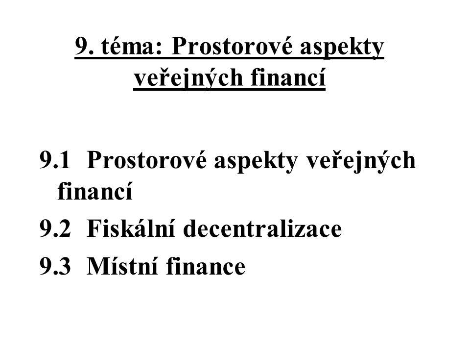 9.3 Místní finance Veřejné finance krajů, okresů, obcí … Problémy: míra soběstačnosti míra přerozdělování v rámci všeobecné rozpočtové soustavy efektivnost alokační fiskální funkce na místní úrovni (viz - teorie klubu) Pojmy - daňová pravomoc, daňové určení