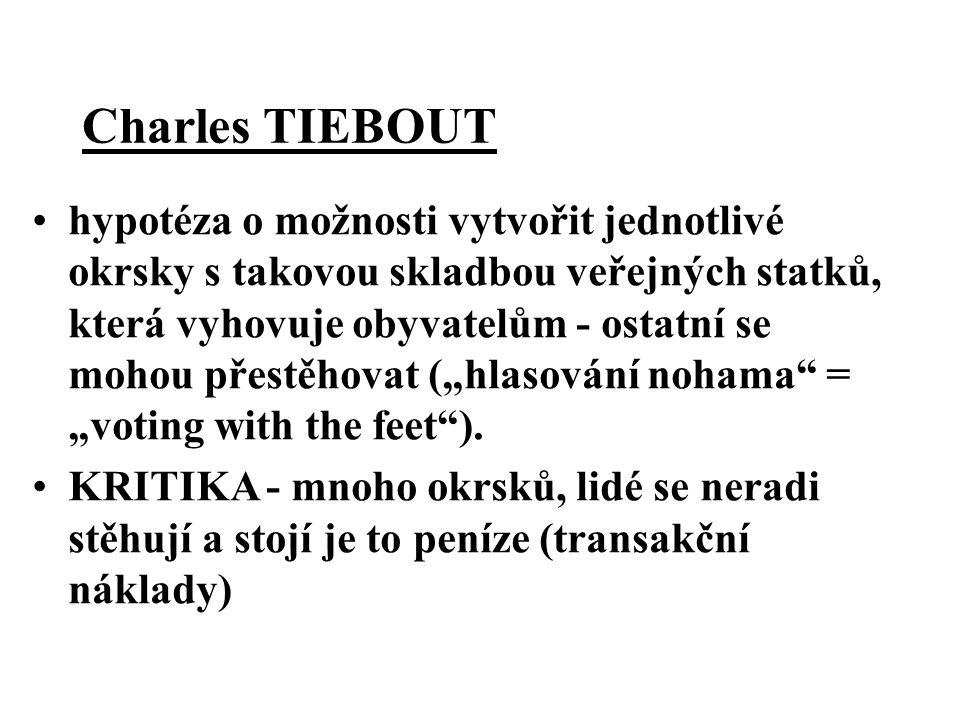 Charles TIEBOUT hypotéza o možnosti vytvořit jednotlivé okrsky s takovou skladbou veřejných statků, která vyhovuje obyvatelům - ostatní se mohou přest
