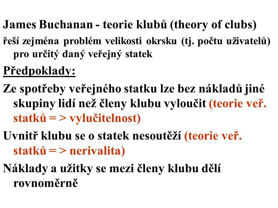 James Buchanan - teorie klubů (theory of clubs) řeší zejména problém velikosti okrsku (tj. počtu uživatelů) pro určitý daný veřejný statek Předpoklady