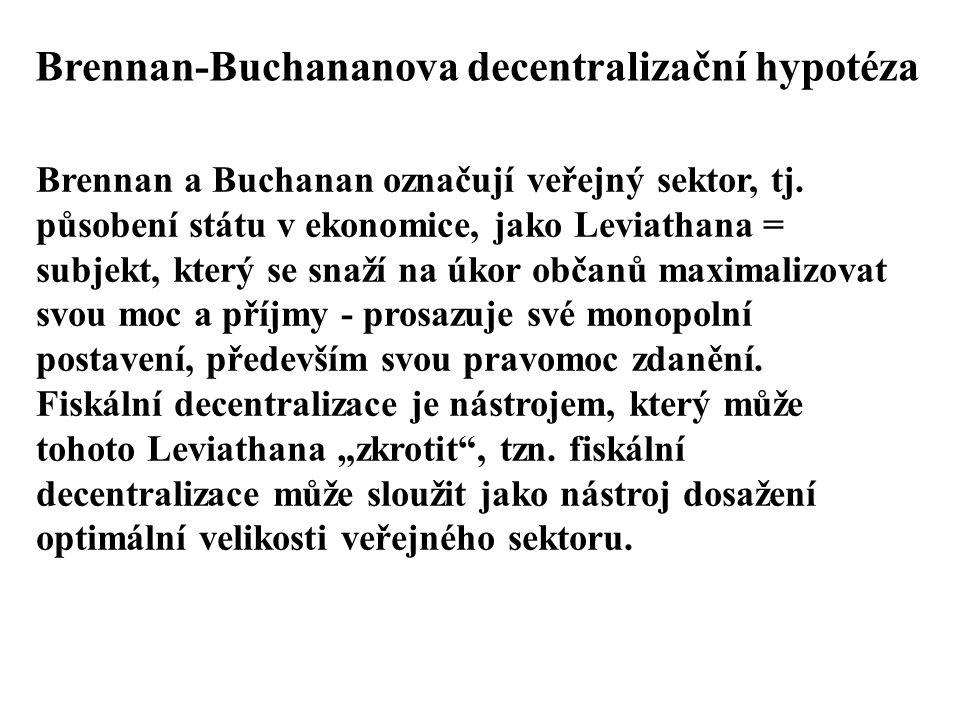 Brennan-Buchananova decentralizační hypotéza Brennan a Buchanan označují veřejný sektor, tj. působení státu v ekonomice, jako Leviathana = subjekt, kt