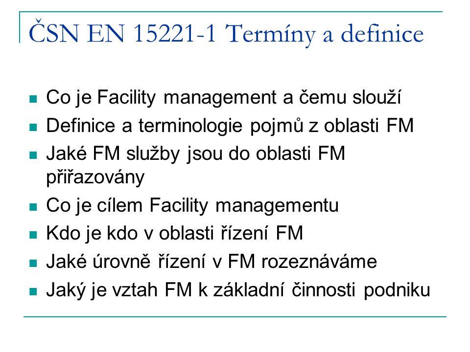 ČSN EN 15221-1 Termíny a definice Co je Facility management a čemu slouží Definice a terminologie pojmů z oblasti FM Jaké FM služby jsou do oblasti FM