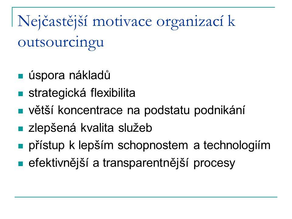 Nejčastější motivace organizací k outsourcingu úspora nákladů strategická flexibilita větší koncentrace na podstatu podnikání zlepšená kvalita služeb