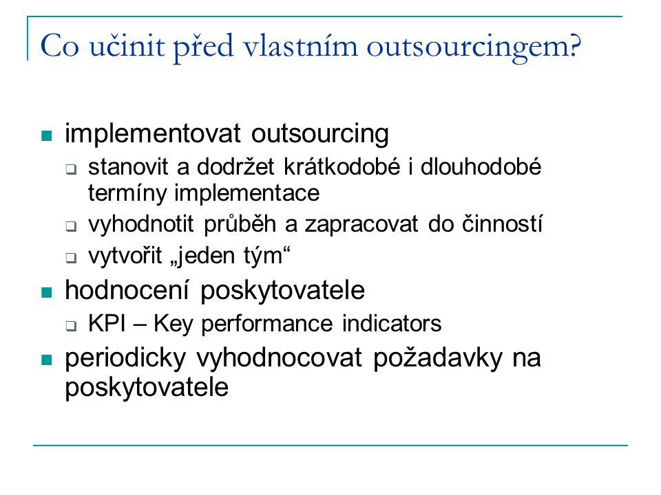 Co učinit před vlastním outsourcingem? implementovat outsourcing  stanovit a dodržet krátkodobé i dlouhodobé termíny implementace  vyhodnotit průběh