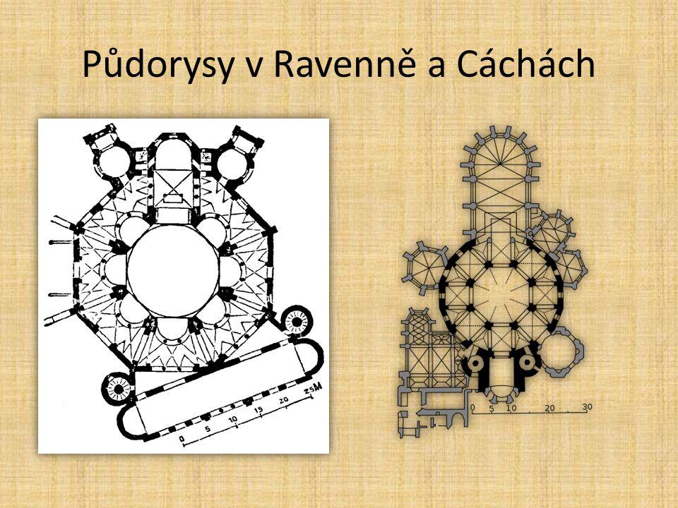 Půdorysy v Ravenně a Cáchách