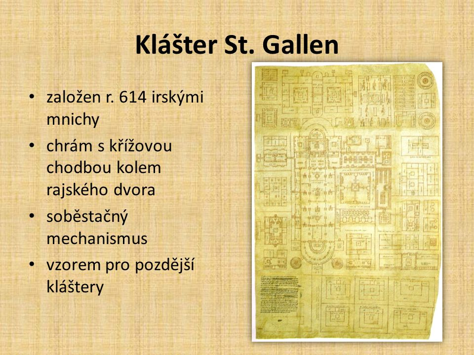 Klášter St. Gallen založen r. 614 irskými mnichy chrám s křížovou chodbou kolem rajského dvora soběstačný mechanismus vzorem pro pozdější kláštery